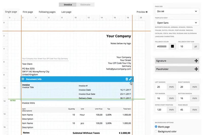 Rechnungsvorlagen online: Rechnungs-Generator